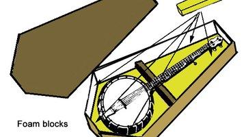 Foam blocks secure the banjo in place.