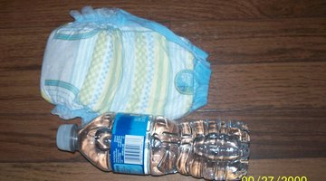 The diaper and the bottle of water used in the experiment
