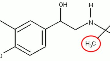 Structure of an albuterol molecule, with a methyl group circled in red