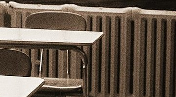 The bleed valves on these classroom radiators are on top.