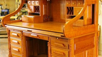 An open lute top from Rolltop Desk Works--tambour lifts up