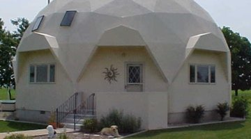 Geodesic dome, note angular form with straight lines