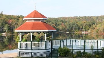 This is a two-tier, six-sided gazebo featuring triangular panels.