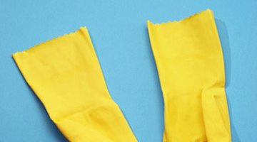 Harsh cleaners can irritate skin unless you protect it with rubber gloves.