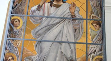 This art also shows a depiction of Jesus and the style of clothing worn during the time.