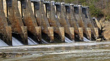 Hydroelectric dams turn turbines, which in turn generate electricity.