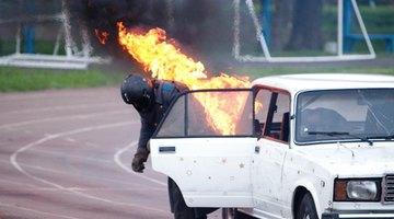 Stunt artists double for actors in dangerous scenes.