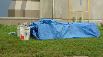 Polythene tarps are often blue, but certainly don't have to be.