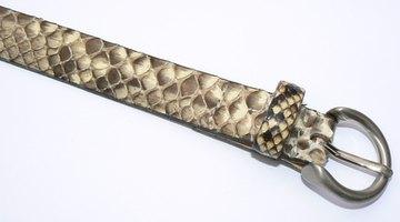 Rounded snakeskin leather belt