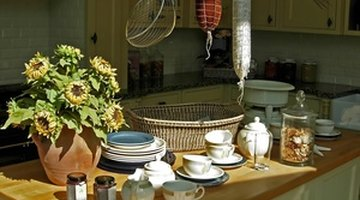 Use colorful kitchen accessories to draw attention away from dated appliances.