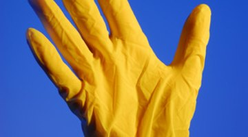 Rubber gloves protect skin from cleaners and chemicals.