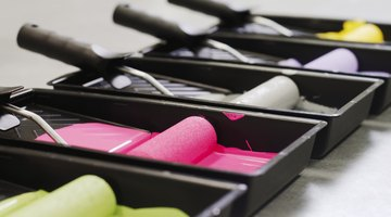 Assorted paint colors including green and its complement pink.