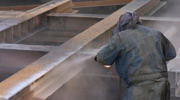 Sandblasting steel