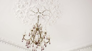 Thousands of iridescent lights finish chandeliers and other fixtures.