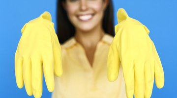 Rubber gloves protect skin from drying cleaners.
