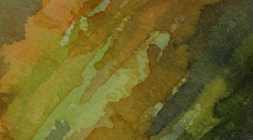 Pigments are mixed with water in watercolor painting.