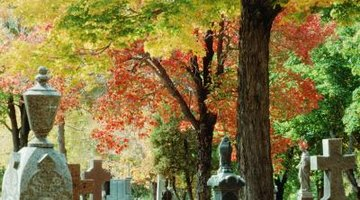 Cemeteries assign designated areas for scattering ashes.
