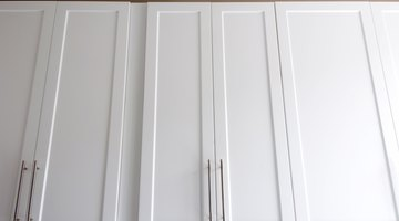 High kitchen cabinets.