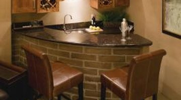 A curved bar with brick facing in place of wood finish panelling