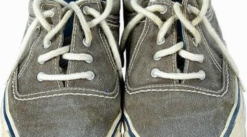 Add fabric to dress up a plain pair of canvas tennis shoes.