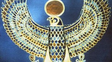 Some of the inlay on this Horus falcon may be made of faience.