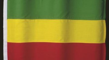 Create an Ethopian flag with green, yellow and red construction paper.