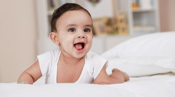 Baby crawling in diaper