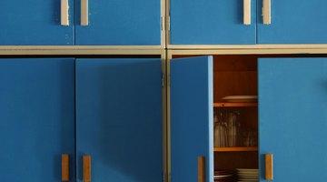 Blue kitchen cabinets.