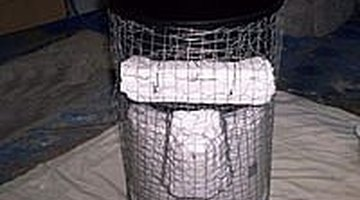 finished bucket, styorofoam, planter and chickenwire form