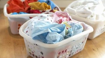3 sorted laundry baskets