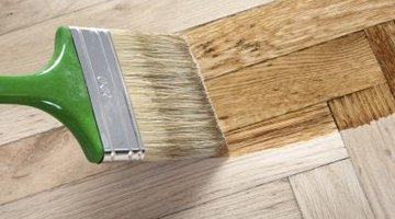 Paint brush with wood stain