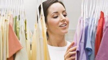 Woman going through clothing