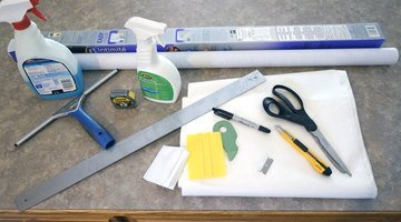 Materials and supplies for window tinting.