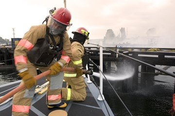 Firefighters respond to emergencies.