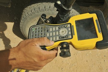 Man marking location on a GPS