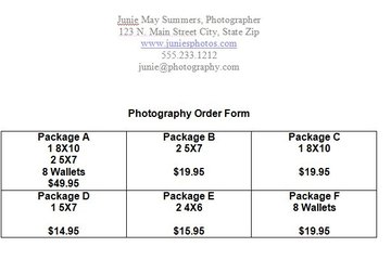Type The Different Options Into The Table Cells. Include The Package Name,  Number Of Photos And Their Sizes, And The Price Of The Package.