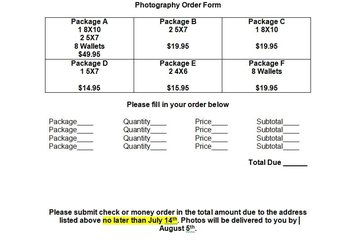 Provide Instructions On How The Order Form Should Be Completed, As Well As  A Place To Fill In Photography Package Orders And Their Prices. Pictures