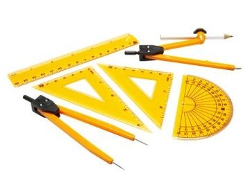 Basic drafting tools including compasses, squares, a protractor and a ruler.