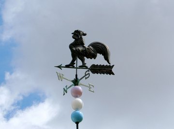 A weather vane shows wind direction.