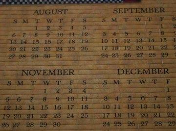 Dates in a modern day calendar