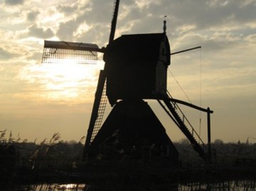 Windmills are used to grind grain.