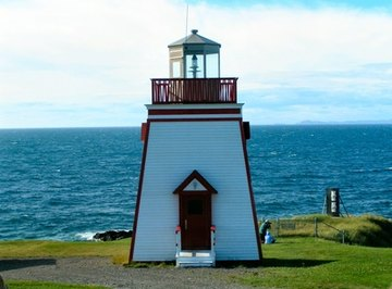 A decorative lighthouse can be powered by the sun.