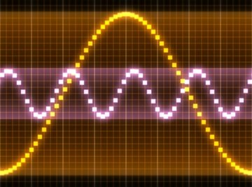 Different sound waves pass through space.