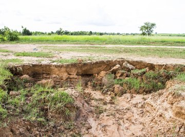 Excessive rain may cause dramatic forms of erosion.