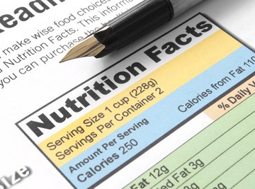 Nutrition label with pen.