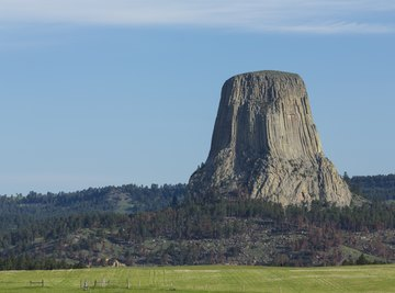 Devils Tower lies within the Bear Lodge Mountains near the Black Hills.