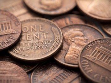 A close-up of pennies.