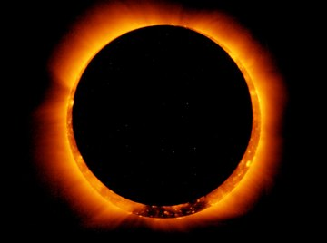 The moon achieving an annular eclipse in May 2012.