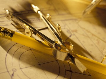 A compass is used to draw arcs and circles.