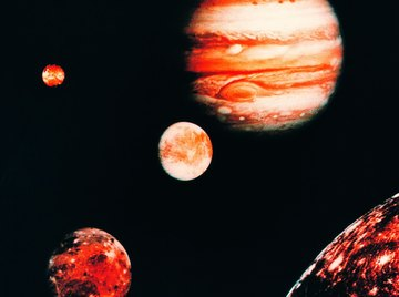 Jupiter is surrounded by four prominent moons.